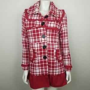 ☀️ Jou Jou Lux Red White Tweed Pea Coat